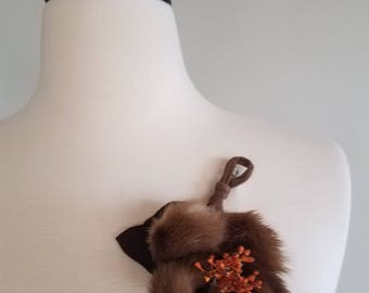 Vintage 1940s/40s Mink Flower Brooch. Fall wedding. Vintage pin. Glamorous burlesque brooch. Vintage christmas stocking stuffer.