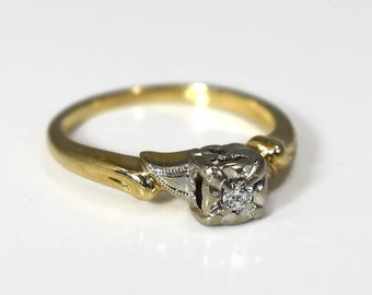 Vintage 14k Gold Diamond Engagement Ring 1930s Deco Era Style