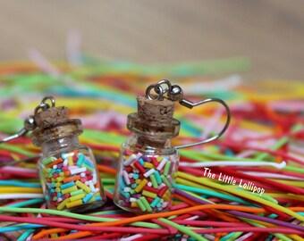 Sprinkles Bottle Earrings - Fimo Food Jewelry
