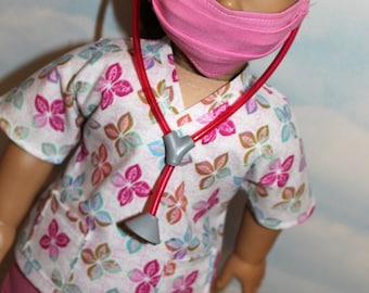 18 Inch Doll (Like American Girl) White and Pink Flower Print Hospital Scrubs with Stethoscope (5 piece set)