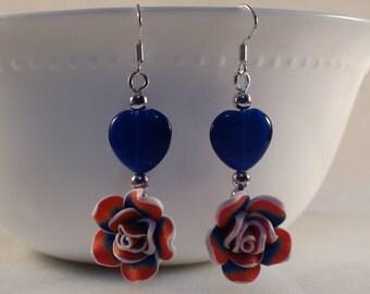 Rose Earrings, Red Rose Earrings, Polymer clay Rose Earrings, Blue Heart Earrings, Red & Blue Earrings