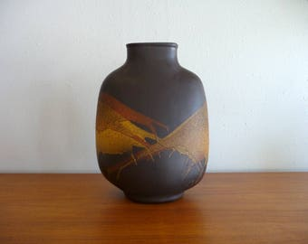 Mid Century Style Ceramic Pottery w/ Orange Yellow Lava Glaze
