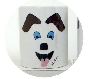 DOG LOVER Mug Gift; 10 oz white ceramic mug created by Pam Ponsart with front and back design featuring a Dog's face and 2 paws