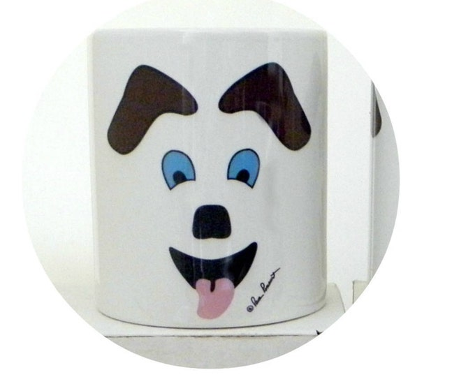 YEAR OF DOG Mug Gift; 10 oz white ceramic mug created by Pam Ponsart with front and back design featuring a Dog's face and 2 paws