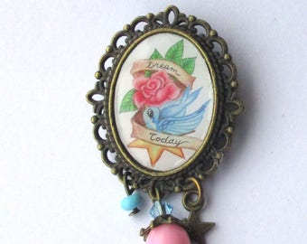 Bronze brooch cabochon cameo tattoo pin-up color
