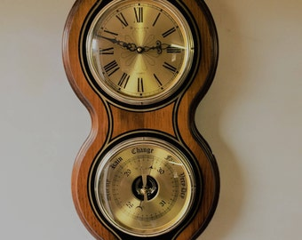 BULOVA WOODEN WALL Clock And Weather Station