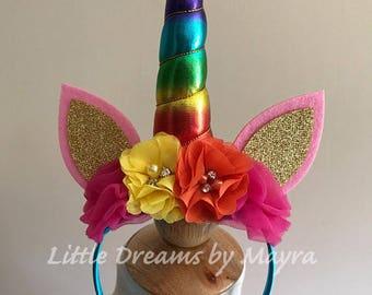 Rainbow unicorn headband, Unicorn birthday party headband, Rainbow Unicorn ears headband