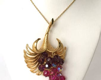 Austrian Crystal Flower PENDANT Necklace or BROOCH Pin, Signed Park Lane, Vintage Jewelry, Purple, Red and Pink Aurora Borealis Crystals
