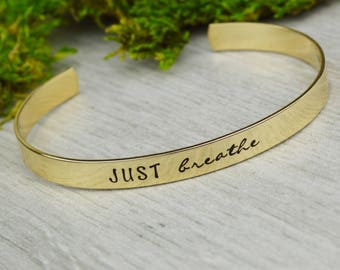 Just Breathe Hand Stamped Aluminum Brass or Copper Bracelet • Custom Mantra Bracelet