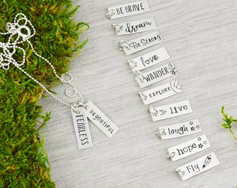 Choose Your Charm Inspirational Vertical Bar Necklace - Custom Hand Stamped Mantra Jewelry