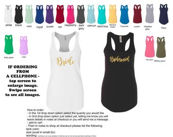 Bride tank top, bridesmaid tank top, bride tribe tank top, bachelorette party shirt, bridesmaid gift, racerback tank, designed as you wish