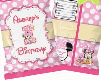 """Baby Minnie Mouse Treat Bag Printable, Candy Bag, Chip Bag, Party Bags 