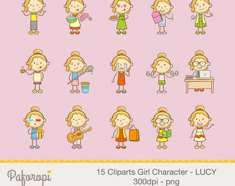 15 Doodle Girl Character Cliparts - LUCY - for Planner Stickers - Digital Files