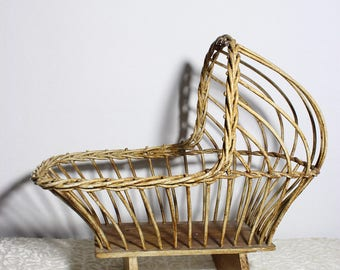 Vintage Woven Rattan Doll Cradle Crib, Wicker Toy