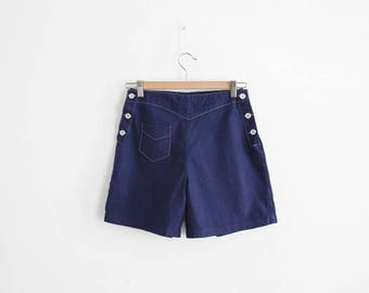 Vintage Summer Shorts - Navy Cotton - High waisted shorts - Made in France