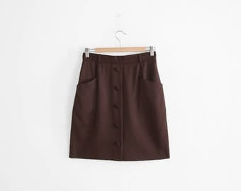 Vintage Brown Wool Skirt - Short Pencil Skirt