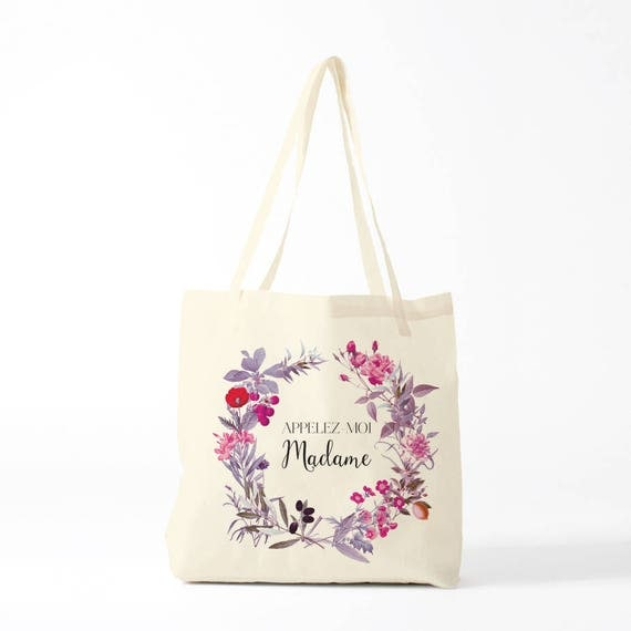 Appelez-moi Madame, wedding, tote bag, purple.