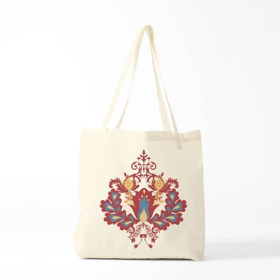 Tote bag, Damask pattern, red version, groceries bag, novelty gift, canvas bag, gift coworker, gift woman, gift sister.