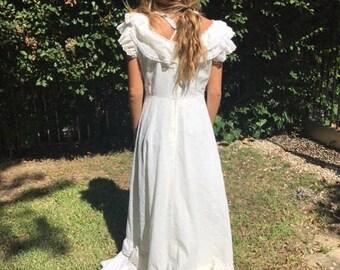 Long Maxi dress,Country dress,Medium,M,1970s,70s,handmade,prairie dress