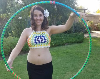 Rainbow Granny Square Festival Top // Rave Top // Hippie Top // Halter Top // Crop Top // CrayCray Crochet