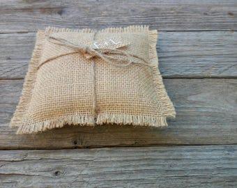 Rustic wedding cushion, small cushion, ring girl carrying, jute pillow, woodcutter wedding