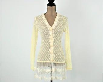 Ivory lace cardigan | Etsy