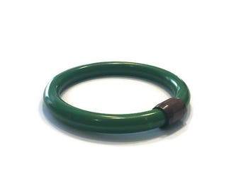 Green Bakelite and Wood Bangle, 1930s 1940s Bakelite Bracelet, Costume Jewelry