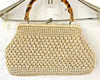 Vintage ivory raffia summer bag Wooden handle Made in japan