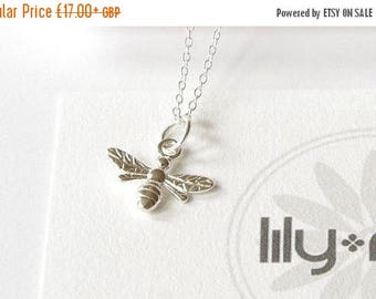 On sale, Sterling Silver bee necklace, bee jewelry, small bee, bumble bee, girlfriend necklace, insect, bee charm, bee pendant gift,
