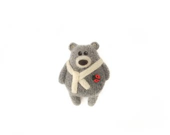 Grey Bear Brooch, Needle felted bear pin, Teddy bear birthday gift, Animal brooch, Ladybug brooch, Bear jewelry, Collectible brooch
