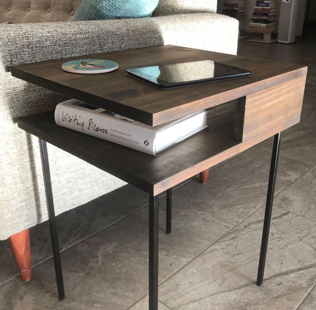 Modern Nightstand Minimal Side Table Mid Century