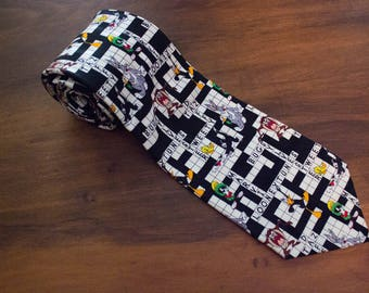 Vintage 90s Looney Tunes Mania 100% Silk Crossword Puzzle Neck Tie- 56""