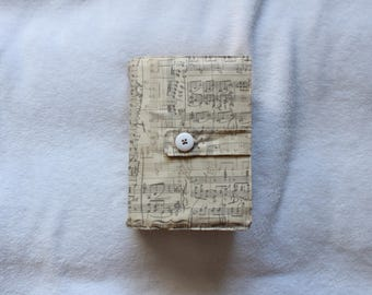 The Ed - Sheet Music Patterned Quad LDS Scripture cover in Beige - Different sizes!