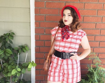 1950s Plaid Romper