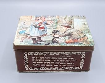 Vintage Dutch Ot and Sien Tin, Dutch Tin, Children's Books Characters Tin, Traditonal Dutch, Old-Fashioned Dutch