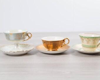 Vintage Teacups - Set of 3 Tea Cups and Saucers with Floral Pattern - Flowers Bone China - Myott, Crown Devon