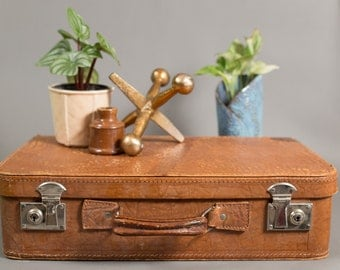 Brown Leather Suitcase - 70's Vintage Boho Luggage for Home Storage - Retro Suitcase Briefcase