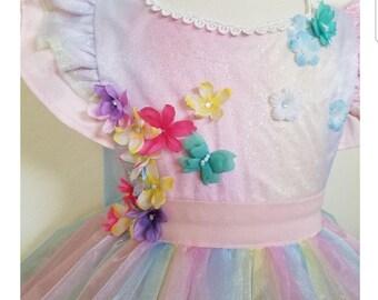 Rainbow Organza floral party dress