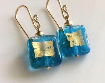 Aqua Venetian Glass Earrings 14K Gold Filled