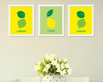 "Lemon Art Prints, Kitchen Wall Art, Dining Room Decor, Lemon Wall Art, Kitchen Poster Print, Set of 3 Prints 8"" x 10"", Lemon Home Decor"