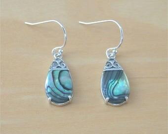 925 Paua Shell Celtic Drop Earrings/925 Silver Celtic Earrings/Paua Shell Jewellery/Paua Shell Jewelry/Paua Shell Jewelery/Celtic Jewellery