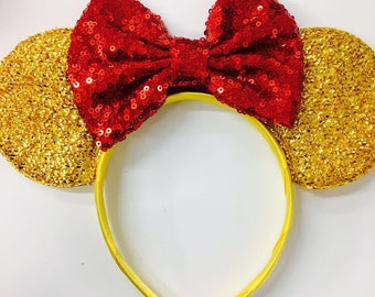 Beauty and the Beast Ears, Belle Ears, Belle Mickey Ears, Disney Inspired Beauty and the Beast headband, Yellow minnie ears, pick your bow