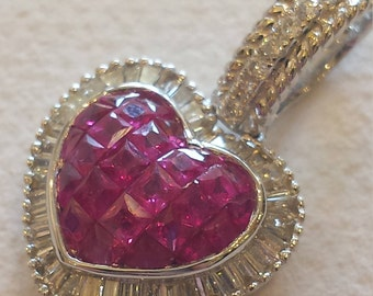 18 k white gold diamond and ruby heart pendant