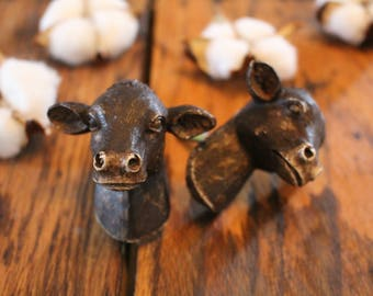 Cow Head Knob, Brown, Antique Vintage Distressed Finish, Cabinet, Drawer,furniture hardware,farmhouse,farm,dairy,rustic,country,kitchen