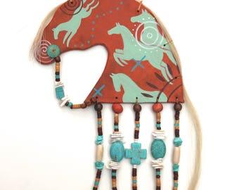 Native American Indian Plains spirit horse pony rock art petroglyph painting southwest spiral western beaded fringed leather Lakota Sioux