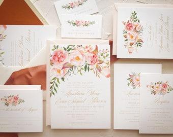 Blush Gold Wedding Invitation | Floral Wedding Invitation Suite | SAMPLE