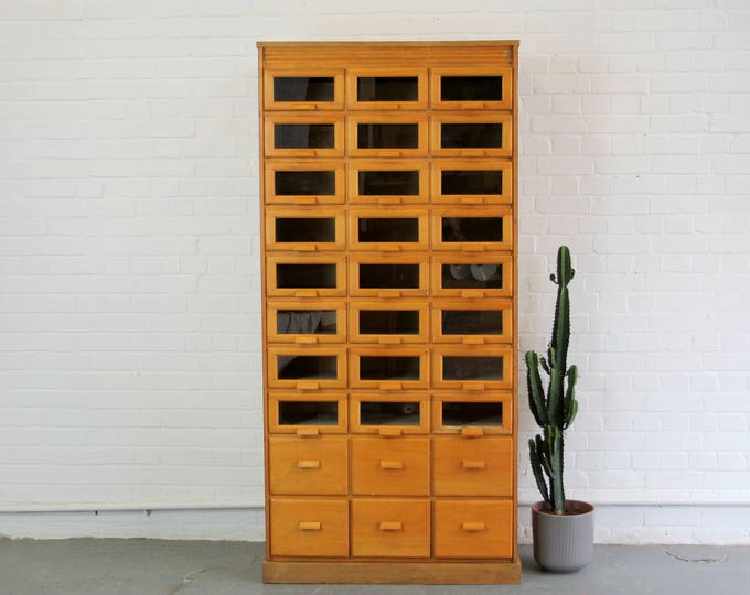 English Light Oak Haberdashery Cabinet Circa 1940s