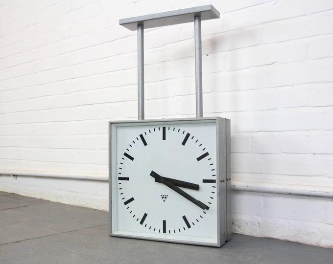 Large Double Sided Station Clocks By Pragotron Circa 1960s