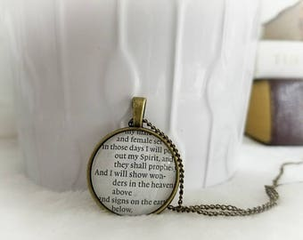 I will pour out my spirit bezel necklace/Pendant necklace/Gift for Her/Gift for mom/Gift for Wife/Christian Jewelry/Vintage Jewelry/Custom
