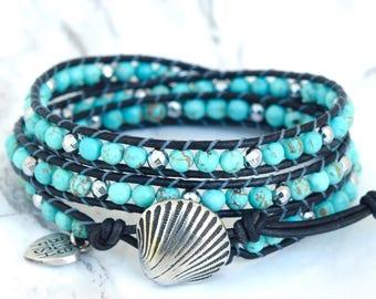 Turquoise Wrap Bracelet, Boho Wrap Bracelet, Wrap Bracelet Turquoise,  Wrap Bracelets, Boho Wrap, Silver Seashell Button
